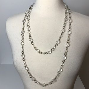 Long Strand Clear Bead Silvertone Chain Necklace
